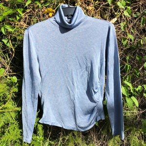 Express Baby Blue Shimmery Long Sleeve Turtleneck